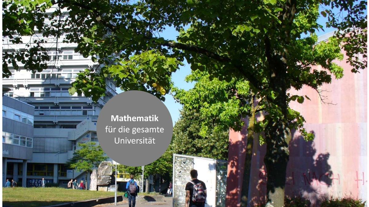 Blick auf den Campus Vaihingen  mit Text: Mathematik für die ganze Universität
