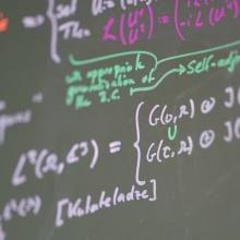 Blackboard with calculation