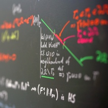Blackboard with drawing in various colours
