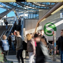 Students at the S-Bahn station