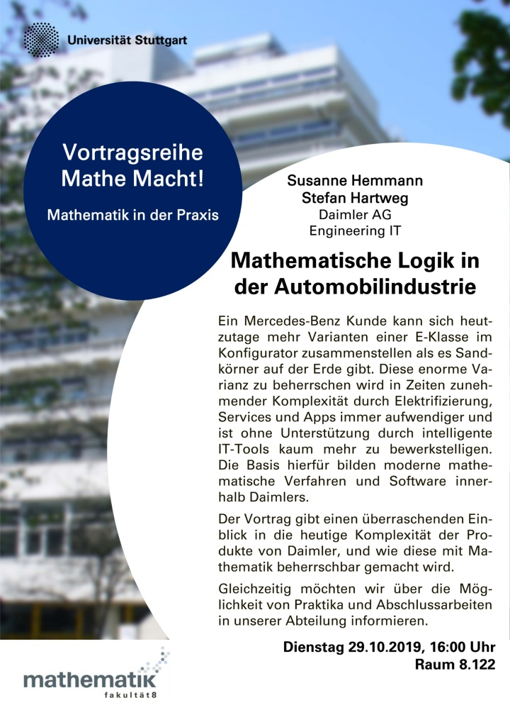 Poster der Verwanstaltung mit der Firma Daimler
