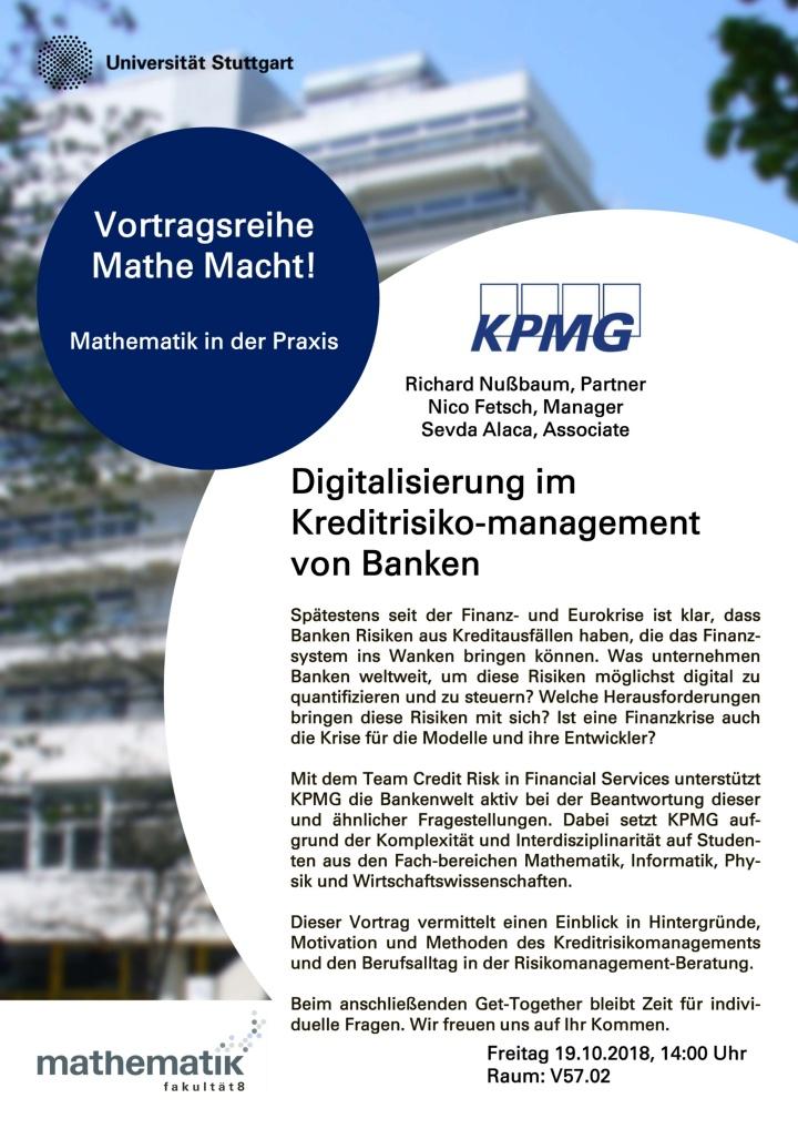 Poster der Verwanstaltung mit der Firma KPMG