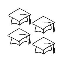 Zeichnung von vier Doktorhüten